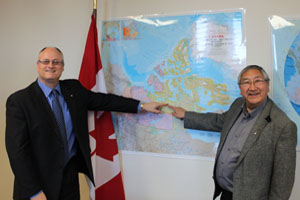 CanNor President Patrick Borbey and Kitikmeot Inuit Association president Charlie Evalik